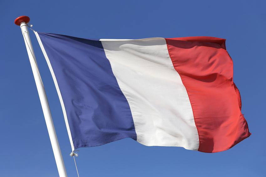 franzsische Flagge im Wind