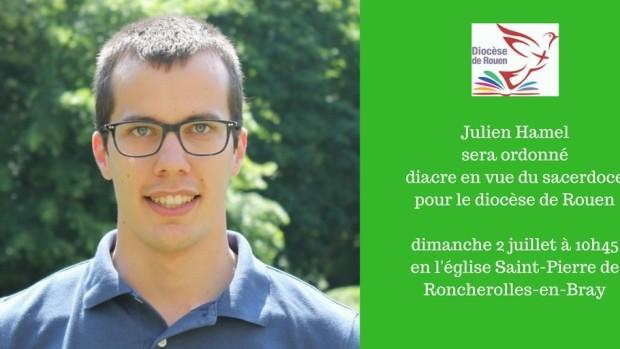 Julien Hamel diacre pour le diocèse de Rouen dimanche 26 juin à 15h30 en la cathédrale Notre-Dame de Rouen-1
