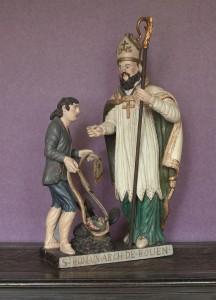saint Romain aid+® de son compagnon, un prisonnier, capture le dragon avec son +®tole - -® Editions Point de vues